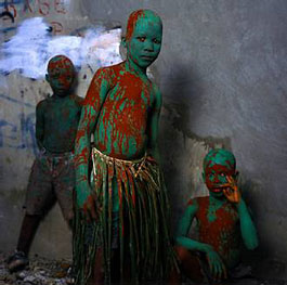 Phyllis Galembo, Three Painted Boys, Carnival in Jacmel, Haiti, 2004